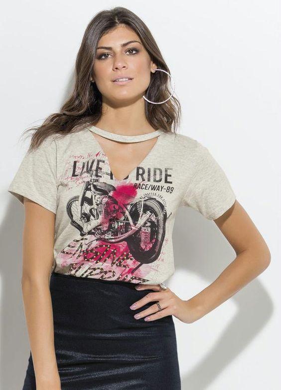 T-Shirt com Gola Choker Mescla - Anne Loja Virtual - Lojas de Roupas Femininas Online, Lingeries, Blusas da Moda, Vestidos Bonitos, Vestidos da Moda - São Luis
