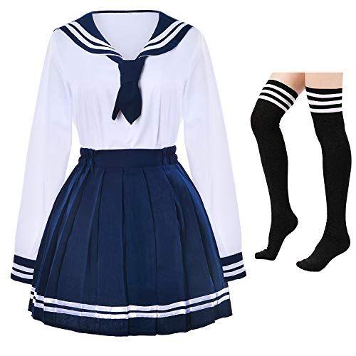 Japanese School Girls Uniform Sailor Navy Blue Pleated Skirt Anime Cosplay Costumes With Socks Set Ssf13 Kawaii Fashion Outfits Kawaii Fashion Kawaii Clothes