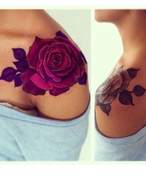So Beautiful Red Rose Tattoos On Shoulder for Girls