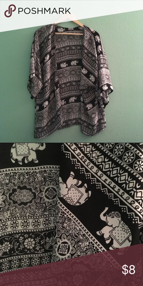 Elephant Kimono Shawl Really beautiful light black and white elephant pattern shawl, kimono type! Thin fabric, very flowy and pretty! Worn once, great condition! 💕 Jackets & Coats Capes