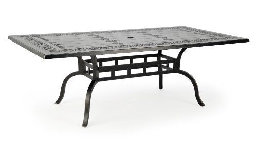 Caluco Novara Rectangle Dining Table 86 Inch by Caluco. $1158.08. Wide outdoor dining table for lounging or entertaining. Umbrella hole for the option to add shade. Cast aluminum body with powder-coated finish. Antique gold finish with UV-resistant clear-coat. Embossed table top design adds texture and appeal. Novara holds its own as the centerpiece of any outdoor scene; this collection marries a heavy cast aluminum frame to an exquisite and elegant Gold Antique finish, ensuri...