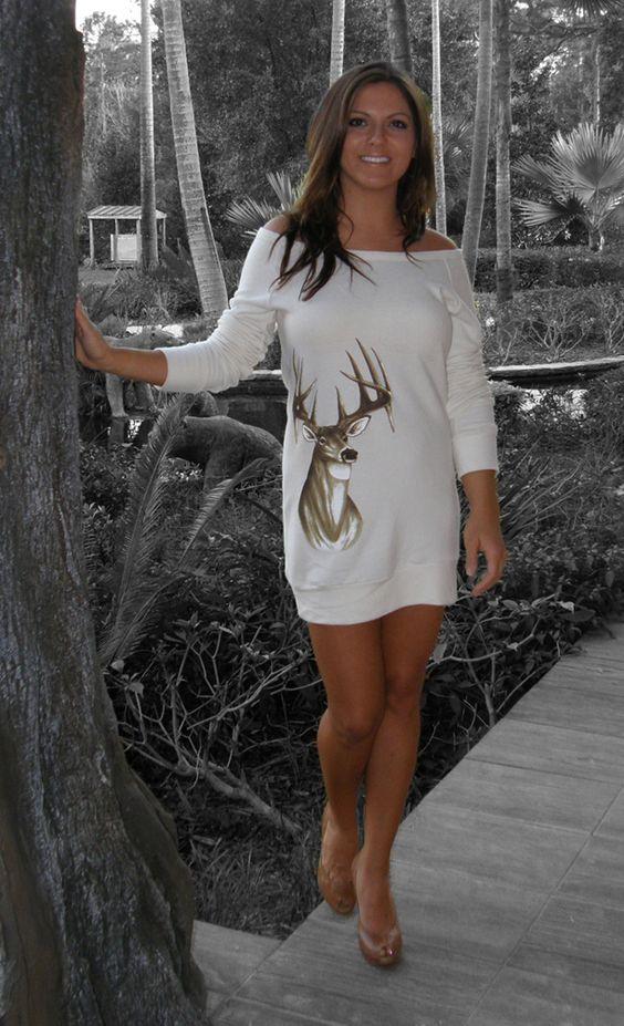 cute: Deer Fashion, Dress Ummmmm, Sweater Dresses, Deer Sweater, Dress Sportygirlapparel, Deer Hunters, Deer Styles