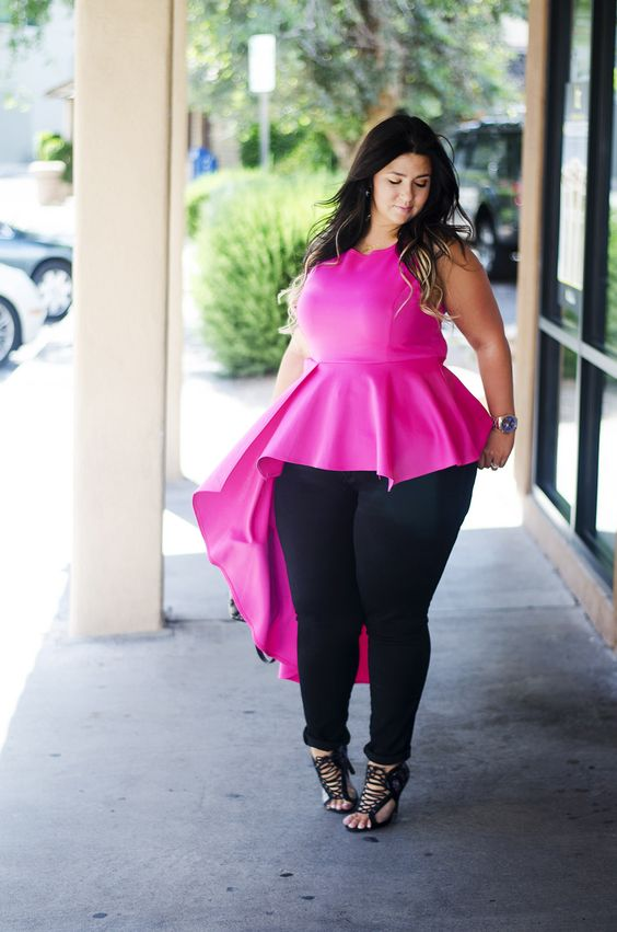 plus size pink top ootd peplum what to wear with pink   OOTD ...