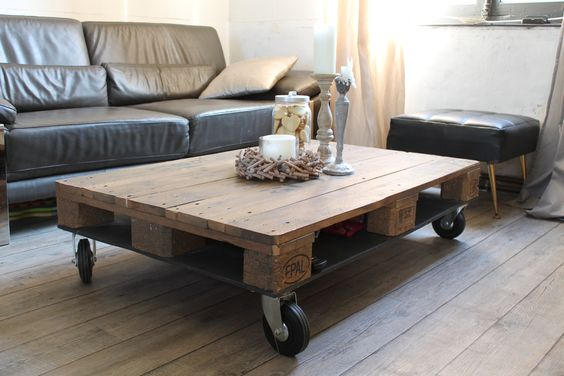 Table basse conçue avec une palette + roulette! Wow! Cest DIY! wwwlartd -> Table Salon Roulette