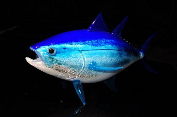 Blue fin tuna art glass fish sculpture by michael hopko for Blue fin fish