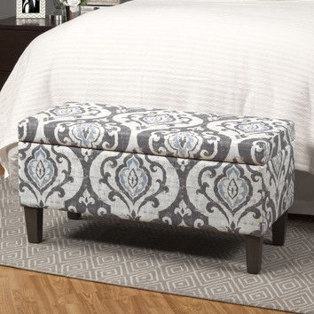 Features:  -Beautiful trend right color for the home.  -Tonal gray linen-like background with a large slate gray and light blue damask pattern.  -Fabric has a soft gray vintage background.  -Hinged li