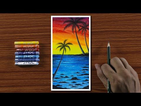 Easy Beautiful Beach Scenery Drawing For Beginners With Oil Pastels Step By Step Youtube Oil Pastel Art Pastel Art Oil Pastel
