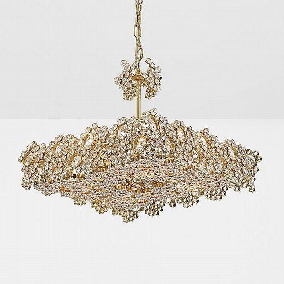 J. & L. Lobmeyr chandelier Austria, c. 1970 crystal, brass 17 w x 17 d x 29 h inches