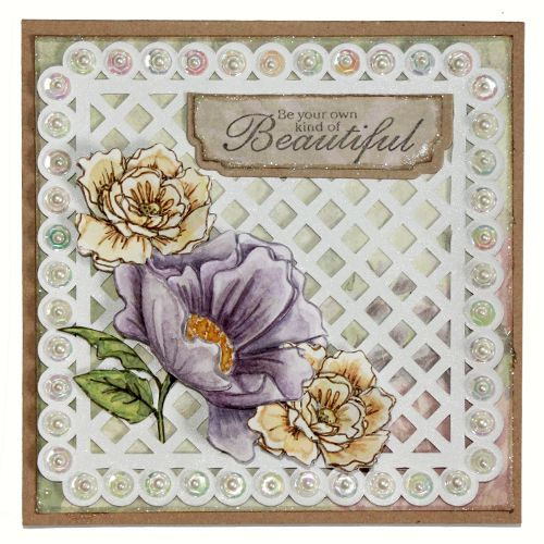 CS125D 'Peonies' Clear set contains 5 stamps. Stamp set designed by Sharon Bennett. Card by Sally Dodger: