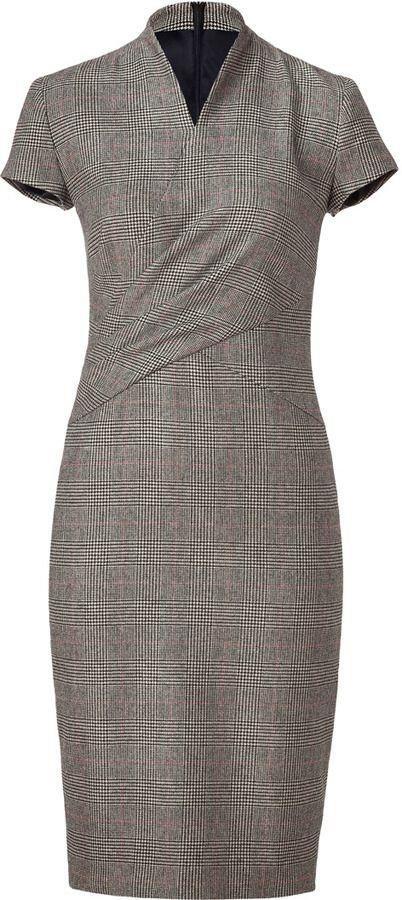 Ralph Lauren Black/Cream/Red Glen Plaid Wool Douglas Dress - EVERYSTORE