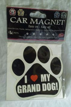 Dog Paw Shaped Car Magnet I Love My Grand Dog Bumper Sticker Decal #DogBumperCarDecal