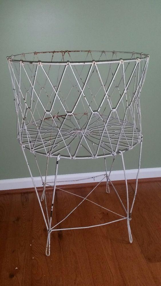 Vintage Collapsible Wire Laundry Basket Folding Metal Primitive