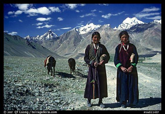 Women on trail near Padum, Zanskar, Jammu and Kashmir. India