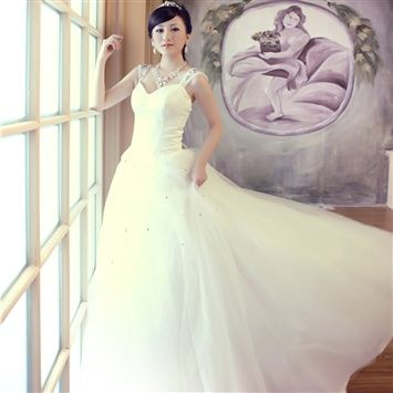Studio theme costume Princess strap shoulder studded lace plus size wedding dresses made to order fat mm 1060