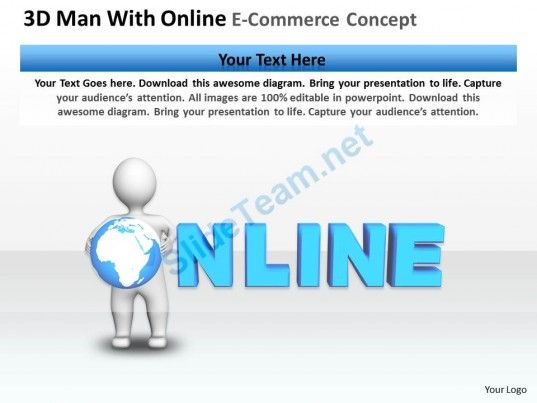 3D Man with Online E-Commerce Concept Ppt Graphics Icons ...