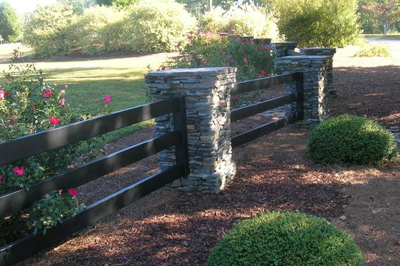 Buckley Fence With Stone Columns Exterior Pinterest