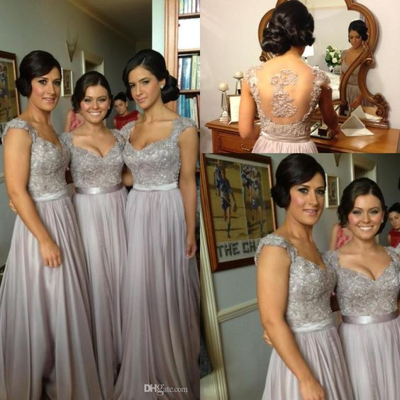 2014 Silver Chiffon Lace Custom Made 2014 New Big Discount Cap Sleeve Long Bridesmaid Dresses Formal Dresses with Ribbon Online with $80.11/Piece on Weddingpalace's Store | DHgate.com