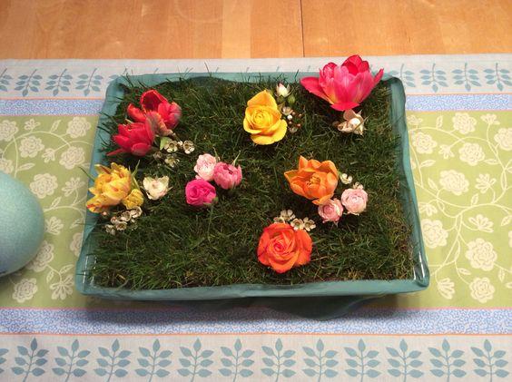 Tischdeko mit echtem Gras!