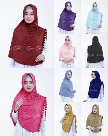 Jilbab Instan Hijab Khimar Athaya With Pad Jersey Zoya Jilbab Khimar Belah Pinggir Dengan Pad Dan Aksen Kriwil Di P Pakaian Wanita Jilbab Cantik Baju Muslim