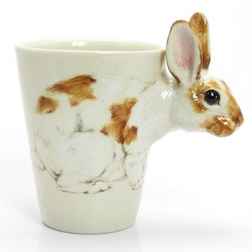 Rabbit Lover Mug Ceramic Cup Handmade Home Decor Pet Lover Gift 00023:
