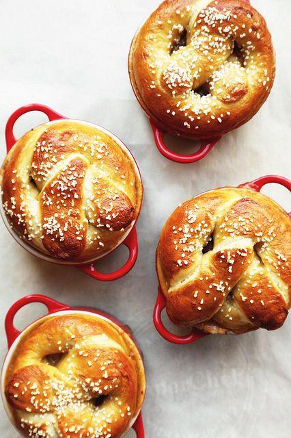 Bratwurst, Beer & Cheddar Pretzel Pot Pie - The Candid Appetite