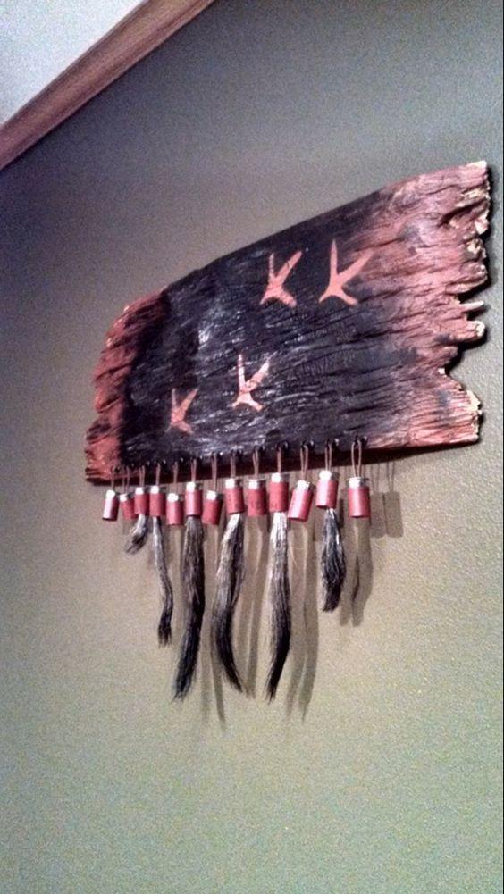 Turkey beard mount / display burnt wood
