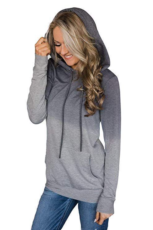 Minipeach Womens Pullover Long Sleeve Hoodies Coat Loose Casual Sweatshirts with Pocket