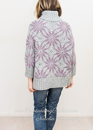Morning Star Sweater Crochet Pattern with step pictures, charted.