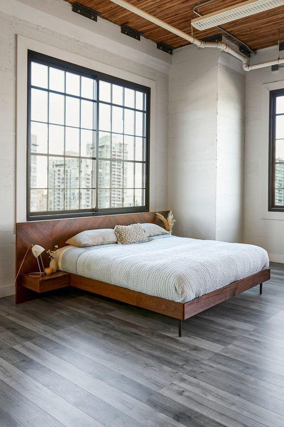 Nera Walnut Queen Bed With Nightstands, Queen Bed With Nightstands