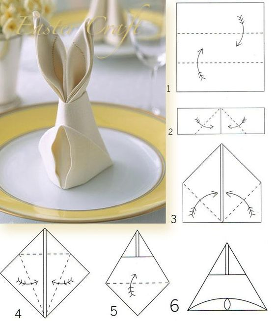 Bunny Napkin Fold how to.:
