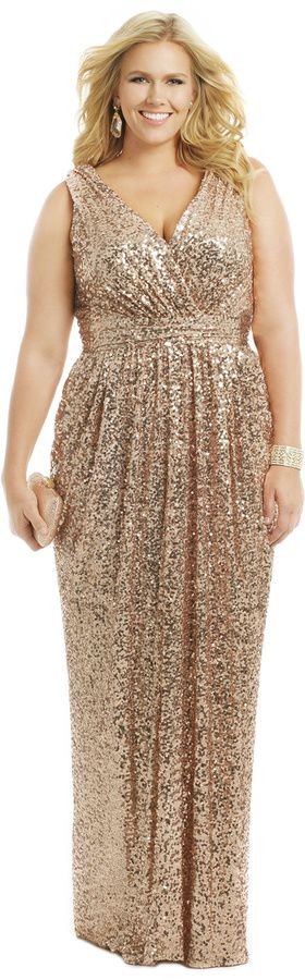 Gold Champagne sequin plus size evening dress | Taylor's Getting ...