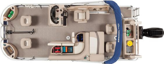 Over look of the NEW 2015 Sun Tracker Fishin' Barge 22 DLX storage compartments