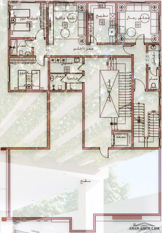 احدث تصميم فيلا دورين و ملحق مع شقق خلفية من اعمال Egyrevit My House Plans Guest House Plans 20x30 House Plans
