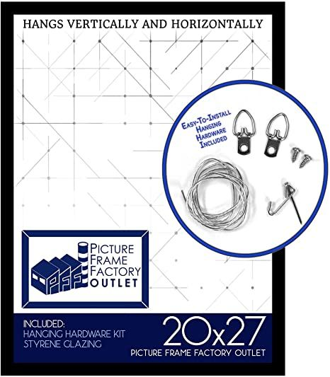 Pictureframefactory 20x27 Picture Frame 1 25 Quot Black Mdf Plexi Glass And Wire Hanging Hardware Inc Picture Frames Picture Frame Design Hanging Hardware