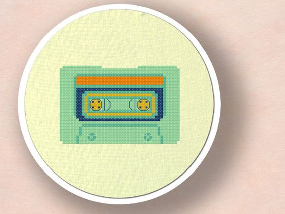 Cassette Tape Cross Stitch PDF Pattern from andwabisabi on Etsy.