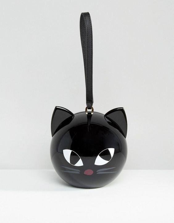 Imagen 1 de                               Bolso clutch con diseño de gato circular Kooky de Lulu Guinness