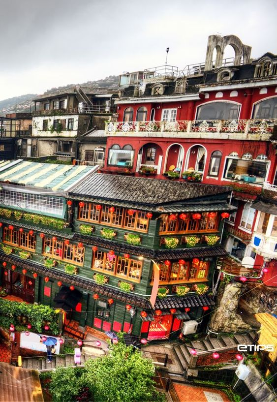 Restaurants and Tea Houses on hill in Jiufen, Taipei City: