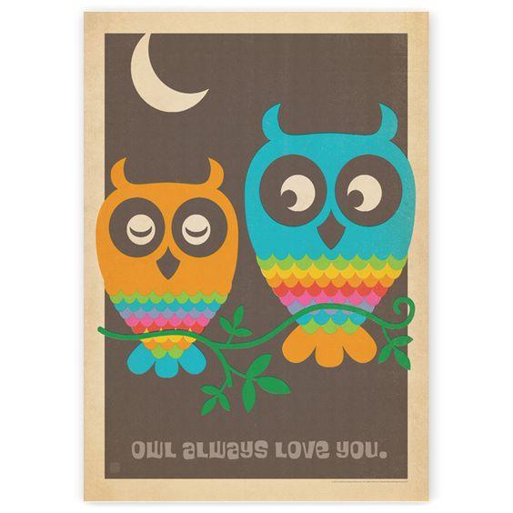 Vintage Mod Owls