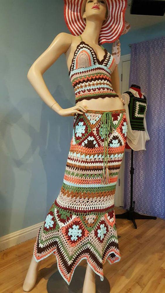 Mujeres Crochet Hippie Gypsy Top