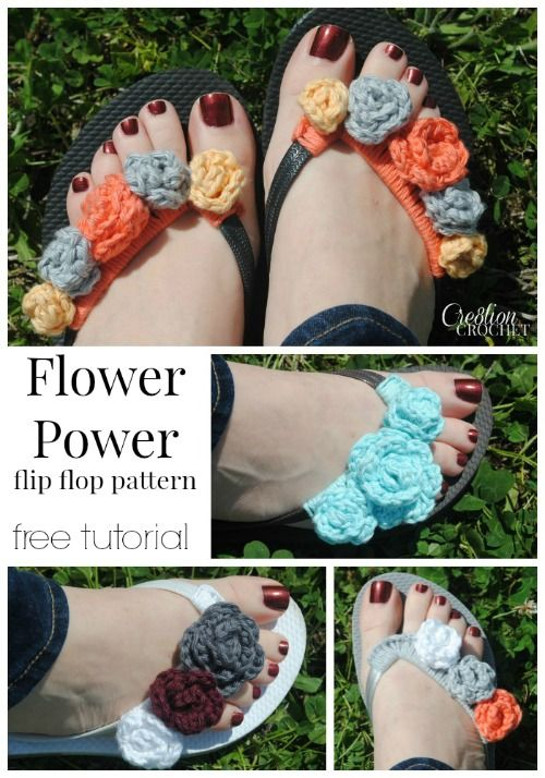 Flower Power flip flop pattern.  Free tutorial has pattern for flowers in 4 different sizes.  So many different possiblities and color combos.