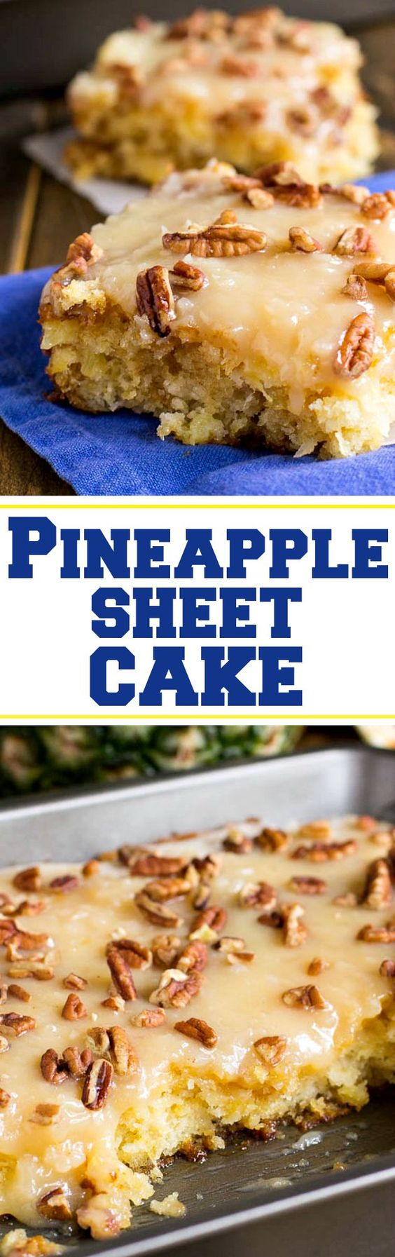 Pineapple Sheet Cake Dessert Recipe via Spicy Southern Kitchen ~ flavored and moistened with crushed pineapple and topped with a sweet icing laced with shredded coconut, and sprinkled with pecans is a wonderful dessert to make to feed a crowd. The Best EASY Sheet Cakes Recipes - Simple and Quick Party Crowds Desserts for Holidays, Special Occasions and Family Celebrations #sheetcakerecipes #sheetcake #sheetcakes #cakerecipes #cakes #dessertforacrowd #partydesserts #christmasdesserts #thanksgivingdesserts #newyearseve #birthdaydesserts