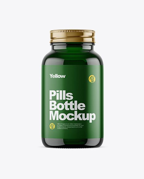 Download Dark Green Glass Bottle With Pills Mockup In Bottle Mockups On Yellow Images Object Mockups Mockup Free Psd Bottle Mockup Mockup Psd PSD Mockup Templates