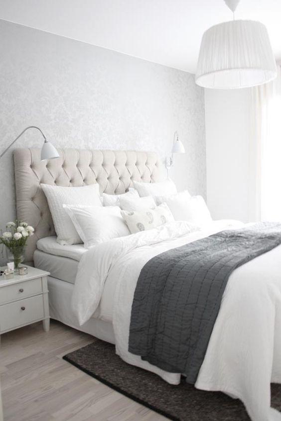 Pale grey walls white crisp natural fabrics relaxing, relaxing, luxurious, relaxing
