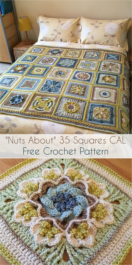 Nuts About 35 Squares CALFree Crochet Pattern