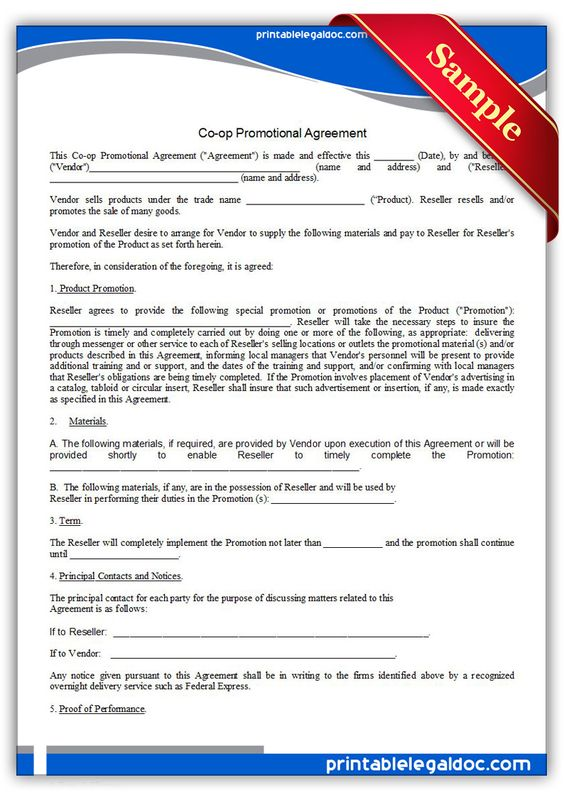 Free Printable CoOp Promotional Agreement  Sample Printable