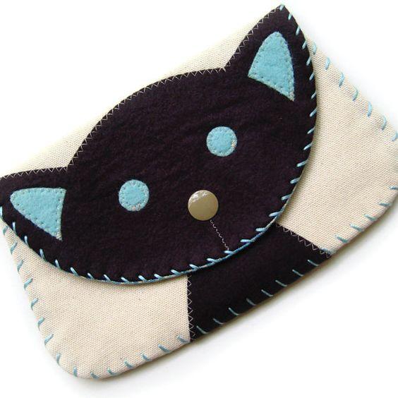 Billetera broche de presión grande del gato negro por bubbledog