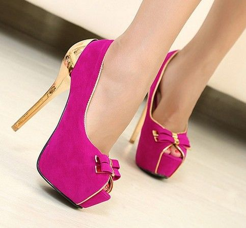 Fuschia gold bowtie ladies women shoes platform pumps sexy high