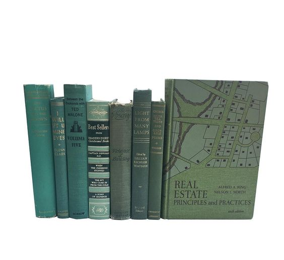 Vintage Green Book Collection Set Of 8