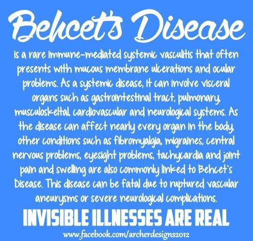 Behcets Disease Awareness Graphic.  Deadly BECAUSE you can't see it.: