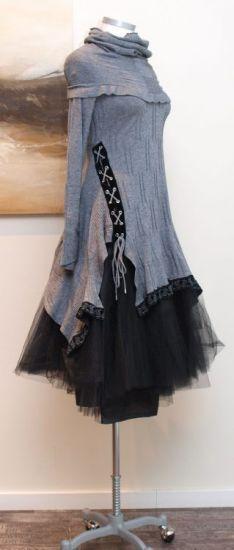 stilecht - mode für frauen mit format... - high - Stricktunika Cheerful mit Kragen grey - Winter 2013